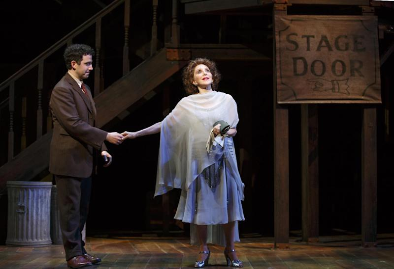 """This image released by Lincoln Center Theater shows Santino Fontana, left, and Andrea Martin in a scene from """"Act One,"""" at the Vivian Beaumont Theater in New York. (AP Photo/Lincoln Center Theater, Joan Marcus)"""