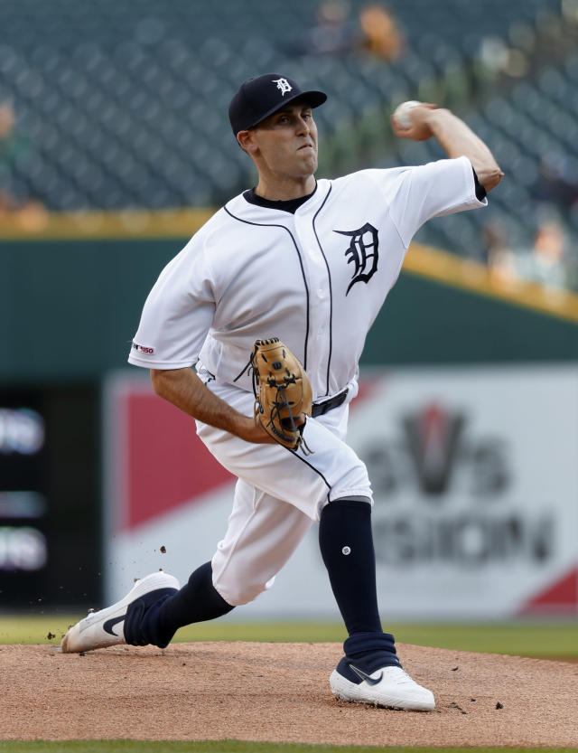 Detroit Tigers pitcher Matthew Boyd throws against the Houston Astros in the first inning of a baseball game in Detroit, Monday, May 13, 2019. (AP Photo/Paul Sancya)