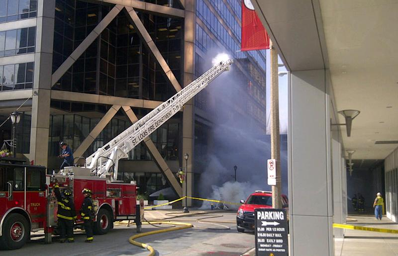 Explosions, fire clear downtown St. Louis building