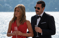 """<p>Adam Sandler is at his best when he's teamed up with Jennifer Aniston, and <em>Murder Mystery</em> plays to both of their strengths, as they play a married couple who accidentally get caught up in a murder investigation on a billionaire's yacht. </p><p><a class=""""link rapid-noclick-resp"""" href=""""https://www.netflix.com/title/80242619"""" rel=""""nofollow noopener"""" target=""""_blank"""" data-ylk=""""slk:Stream it here"""">Stream it here</a></p>"""