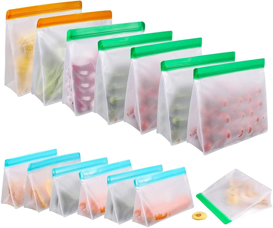 <p>These leakproof <span>Reusable Silicone Food Storage Bags for 14 Pack Leakproof Reusable Vacuum Bags,</span> ($20) are so useful for leftovers and meal prepping. It comes with two gallon bags, six sandwich lunch bags, and six small snack reusable bags.</p>