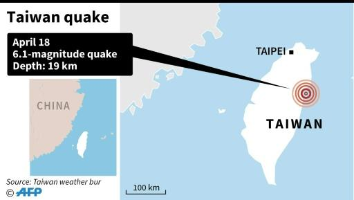 Map locating a quake off the coast of Taiwan on Monday