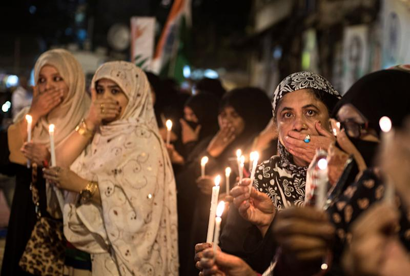 Muslim women protest at a candlelight vigil against Delhi riots at Mumbai Bagh on February 27, 2020 in Mumbai, India. (Photo: Hindustan Times via Getty Images)