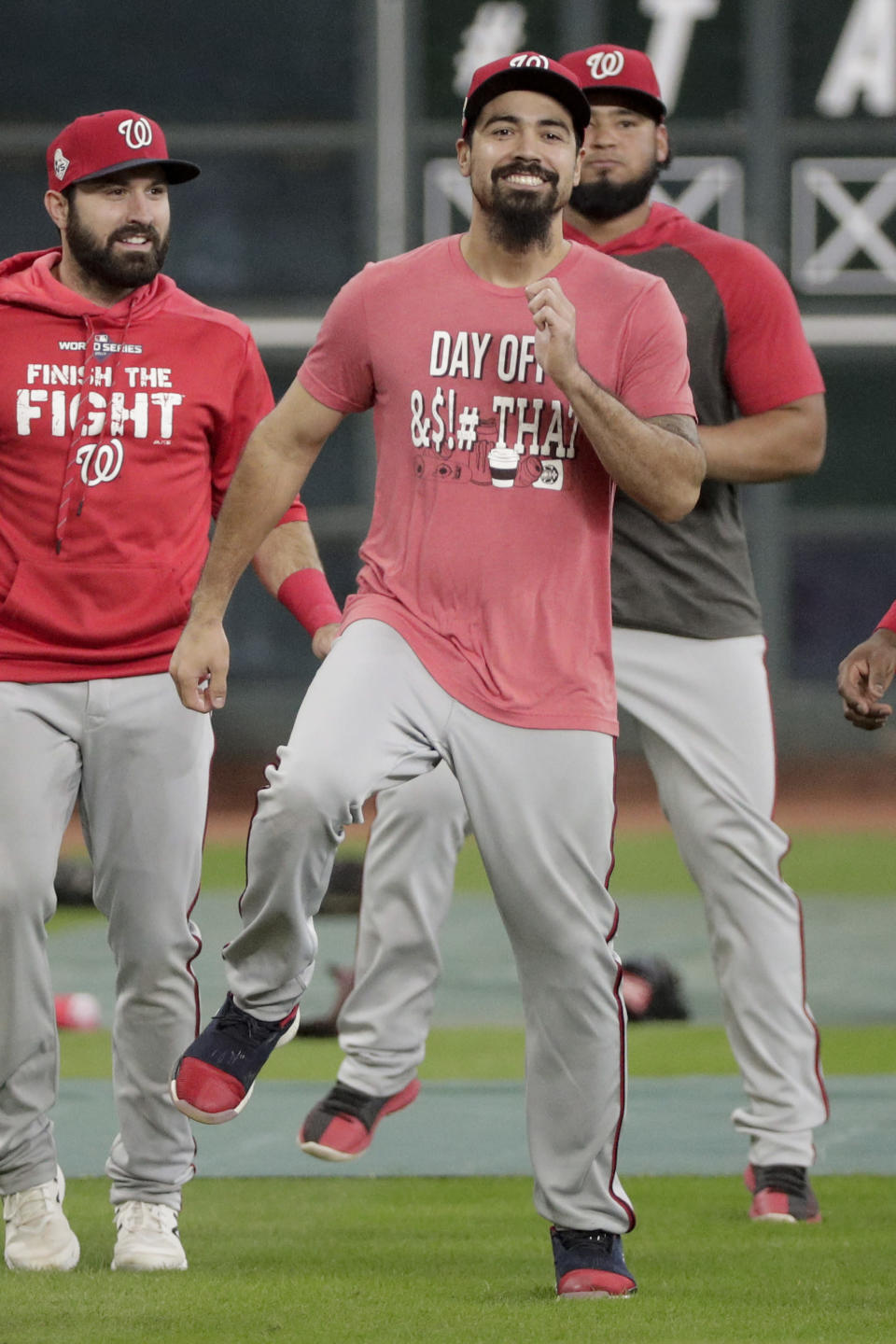 Washington Nationals third baseman Anthony Rendon warms up during batting practice for baseball's World Series Monday, Oct. 21, 2019, in Houston. The Houston Astros face the Washington Nationals in Game 1 on Tuesday. (AP Photo/David J. Phillip)