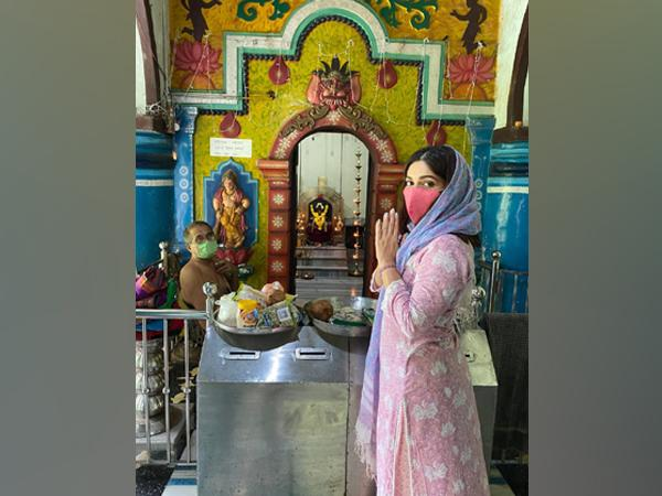 Actor Bhumi Pednekar at a temple in her ancestral village