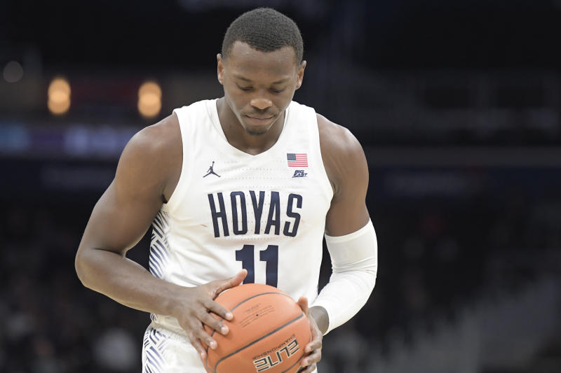 WASHINGTON, DC - NOVEMBER 06: Galen Alexander #11 of the Georgetown Hoyas prepares for a foul shot during a basketball game against the Mount St. Mary's Mountaineers at Capital One Arena on November 6, 2019 in Washington, DC. (Photo by Mitchell Layton/Getty Images)
