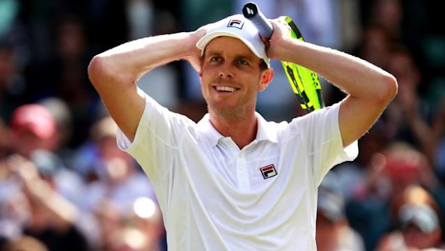 """World No. 45 Sam Querrey, seen here in 2016, went 1-1 on Saturday in Rolling Hills but still advanced to Sunday's semifinals and will face Ernesto Escobedo. <span class=""""copyright"""">(Adam Pretty / Getty Images)</span>"""