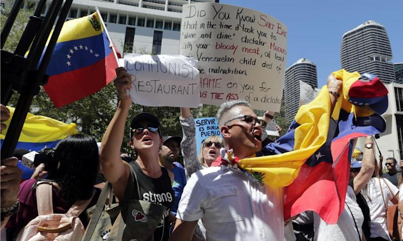 Venezuelans protest outside the Salt-Bae's Nurs-Et Steakhouse in Miami, US.