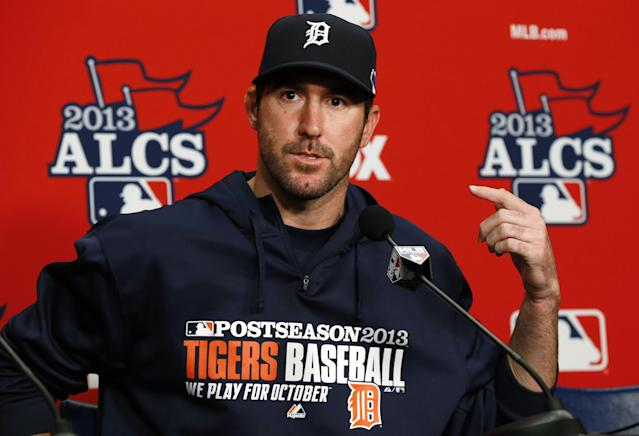 Detroit Tigers starting pitcher Justin Verlander points to himself while answering a question during a media availability at Comerica Park before practice for Game 3 of the American League baseball championship series against the Boston Red Sox in Detroit, Monday, Oct. 14, 2013. (AP Photo/Paul Sancya)