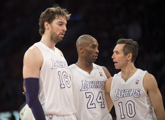 The Lakers rolled out a super team that never was on Christmas Day 2012. (Getty Images)