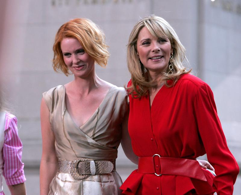 "Cynthia Nixon and Kim Cattrall on the set of ""Sex In The City: The Movie."" (James Devaney via Getty Images)"