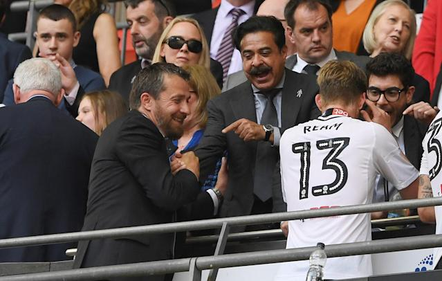 "Soccer Football - Championship Play-Off Final - Fulham vs Aston Villa - Wembley Stadium, London, Britain - May 26, 2018 Fulham owner Shahid Khan and Fulham manager Slavisa Jokanovic celebrate promotion to the Premier League Action Images via Reuters/Tony O'Brien EDITORIAL USE ONLY. No use with unauthorized audio, video, data, fixture lists, club/league logos or ""live"" services. Online in-match use limited to 75 images, no video emulation. No use in betting, games or single club/league/player publications. Please contact your account representative for further details."