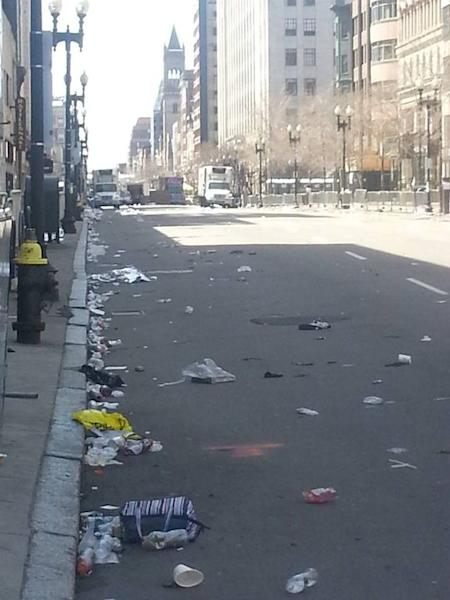 On April 18, a day after the Boston Marathon bombings, the area around the finish line is desolate.