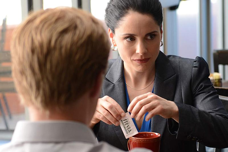Lydia Rodarte-Quayle played by Laura Fraser in AMC's Breaking Bad drama series, sitting opposite Todd Alquist (Jesse Plemons) with her chamomile tea and Stevia. (Photo: Ursula Coyote/AMC)