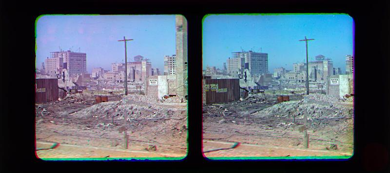 """This Oct. 6, 1906 stereo photograph provided by the Smithsonian's National Museum of American History shows view of earthquake-damaged San Francisco. The San Francisco Chronicle reports that the six images were snapped by color photography pioneer Frederick Eugene Ives several months after the April 1906 """"Great Quake."""" National Museum of American History volunteer Anthony Brooks found the glass plate photos while cataloguing a collection donated by Ives' son, Herbert. (AP Photo/Courtesy of the Smithsonian's National Museum of American History)"""
