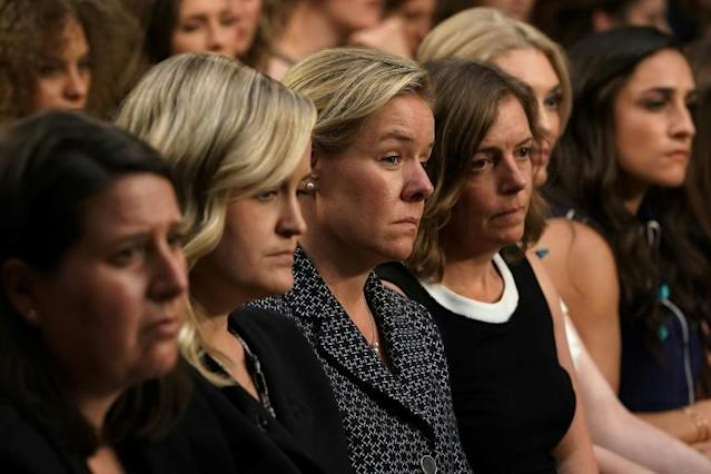 United States Olympic Committee chief executive Sarah Hirshland (third left) listens during a federal hearing last July on protecting Olympic and amateur athletes from abuse. (AFP Photo/ALEX WONG)
