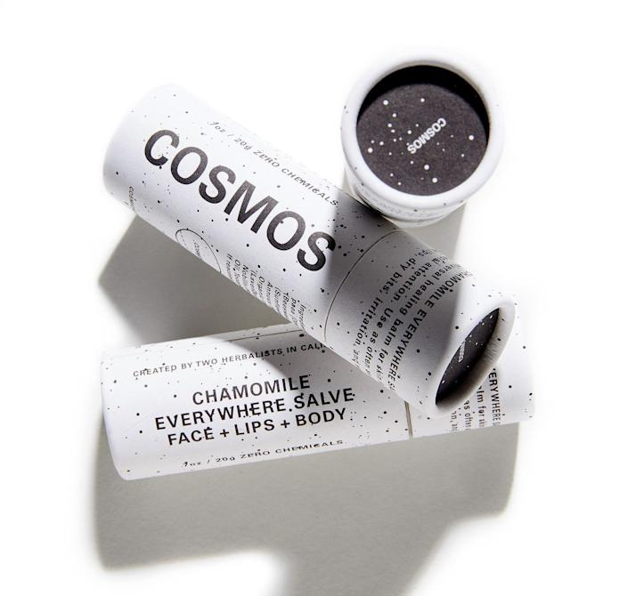 "<a href=""https://www.cosmosbotanicals.com/"" rel=""nofollow noopener"" target=""_blank"" data-ylk=""slk:Cosmos"" class=""link rapid-noclick-resp"">Cosmos</a> products are created with 100 percent plant-based ingredients, which the company says are&nbsp;completely safe for your body and the planet. The brand also uses reusable, compostable and recyclable containers to cut down on waste, and it doesn't test&nbsp;its products on animals.&nbsp;<br><br><strong>Shop Cosmos <a href=""https://www.cosmosbotanicals.com/"" rel=""nofollow noopener"" target=""_blank"" data-ylk=""slk:here"" class=""link rapid-noclick-resp"">here</a>.&nbsp;</strong>"