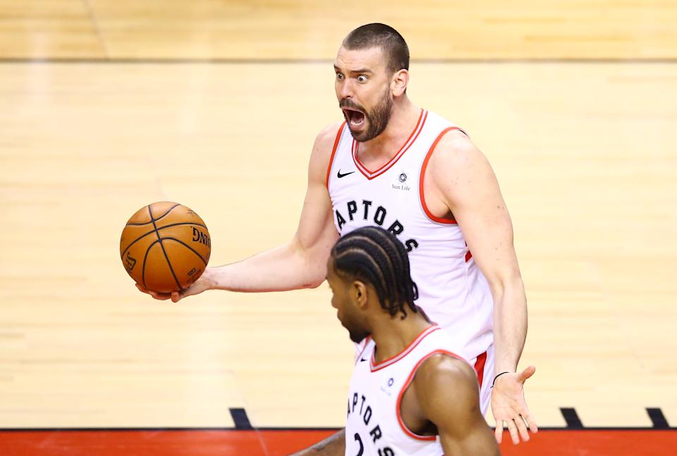 Marc Gasol #33 of the Toronto Raptors reacts to a foul call against the Golden State Warriors in the first half during Game Two of the 2019 NBA Finals at Scotiabank Arena on June 02, 2019 in Toronto, Canada. (Photo by Vaughn Ridley/Getty Images)