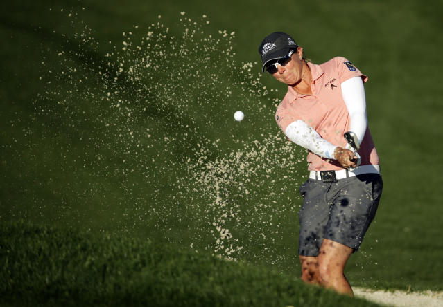 Alena Sharp hits out of the bunker on the 12th hole during the second round of the LPGA Tour ANA Inspiration golf tournament at Mission Hills Country Club, Friday, March 30, 2018, in Rancho Mirage, Calif. (AP Photo/Chris Carlson)