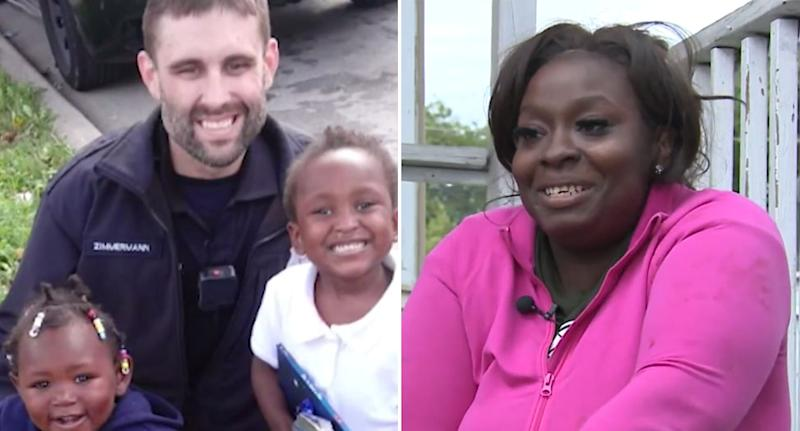 Wisconsin police officer Kevin Zimmerman with Andrella Jackson's children on the left. The mum is pictured on the right.