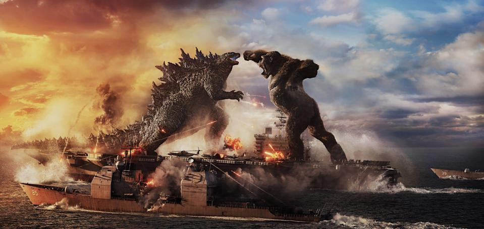 """Two iconic monsters fight on a battleship in """"Godzilla vs. Kong."""""""