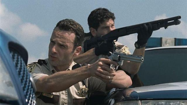 Andrew Lincoln as Rick and Jon Bernthal as Shane in 'The Walking Dead' (Photo: AMC)