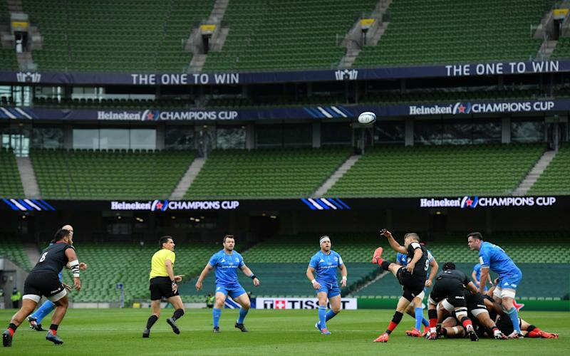 Richard Wigglesworth of Saracens clears possession during the Heineken Champions Cup Quarter-Final match between Leinster and Saracens at the Aviva Stadium in Dublin. - GETTY IMAGES