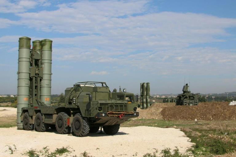 Russia's S-400 air defence missile systems are seen in 2015 at the Hmeimim airbase in the Syrian province of Latakia