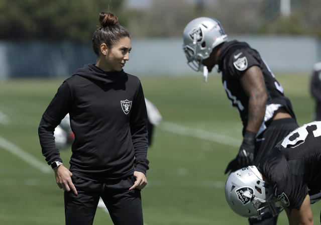 Assistant strength and conditioning coach Kelsey Martinez is the first female coach in Oakland Raiders history. (AP)