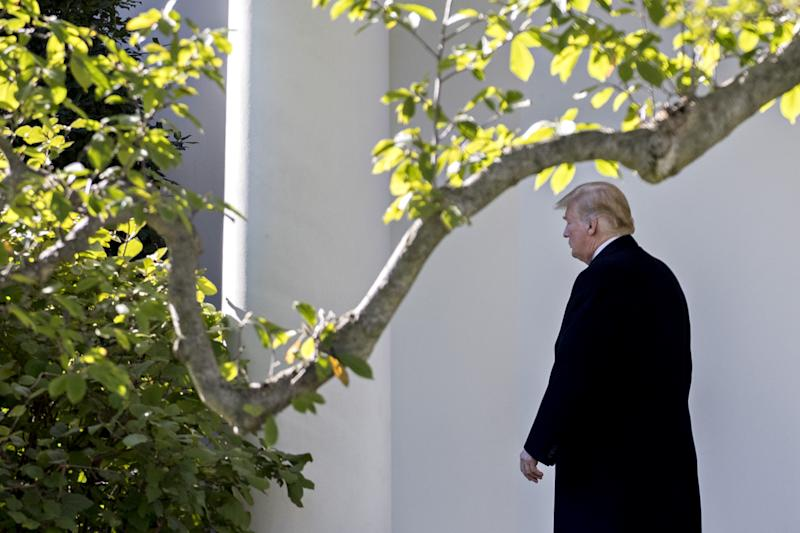 U.S. President Donald Trump walks out of the Oval Office of the White House before boarding Marine One in Washington, D.C., U.S., on Thursday, Oct. 18, 2018. (Photo: Andrew Harrer/Bloomberg via Getty Images)