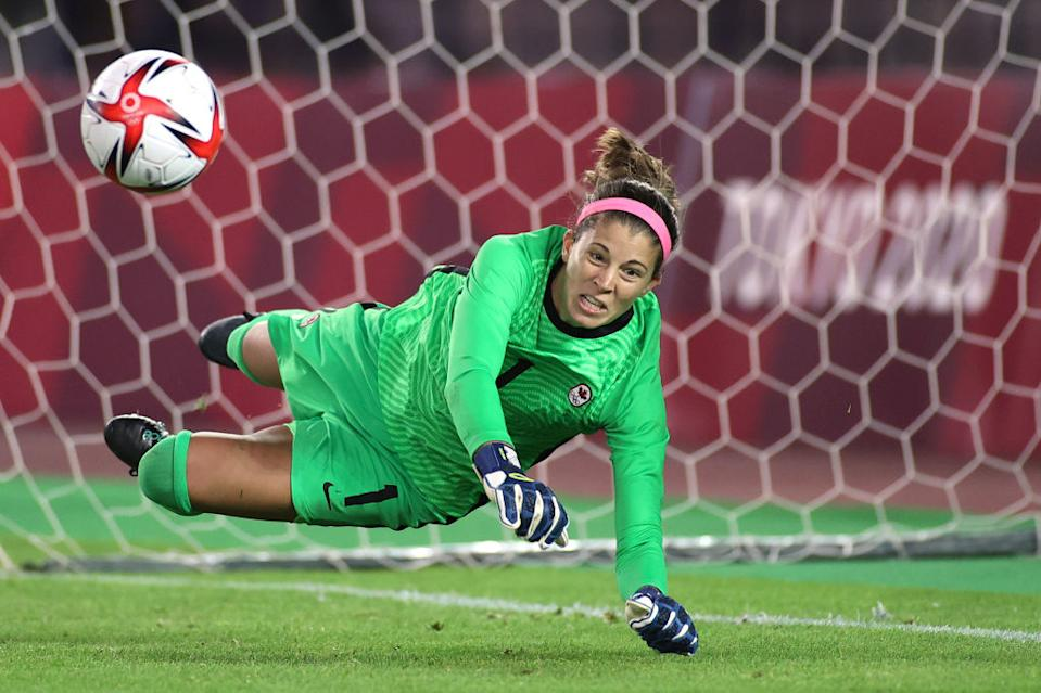 Goalkeeper Stephanie Labbe's comeback performance in penalties rescued Canada from the jaws of defeat, teeing up a semifinal showdown with the Americans. (Getty)