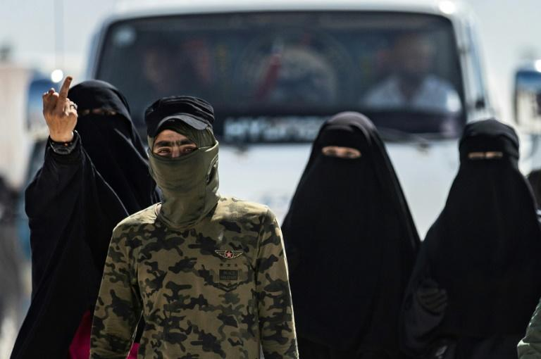 Women believed to have been the wives of Islamic State fighters, being held in the Kurdish-run Al-Hol camp in northeastern Syria