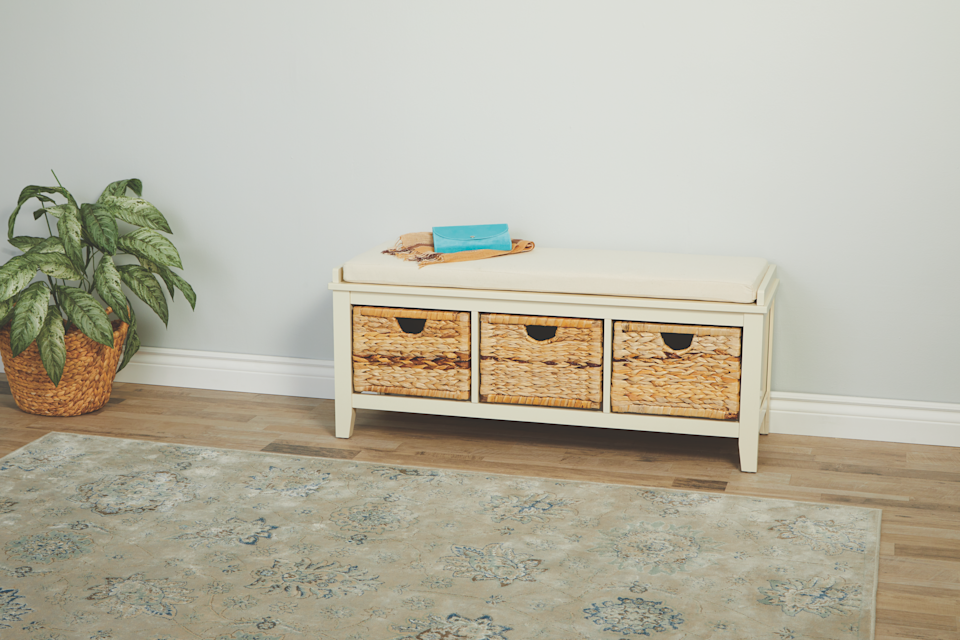 Shoe storage bench for entryway and front hall