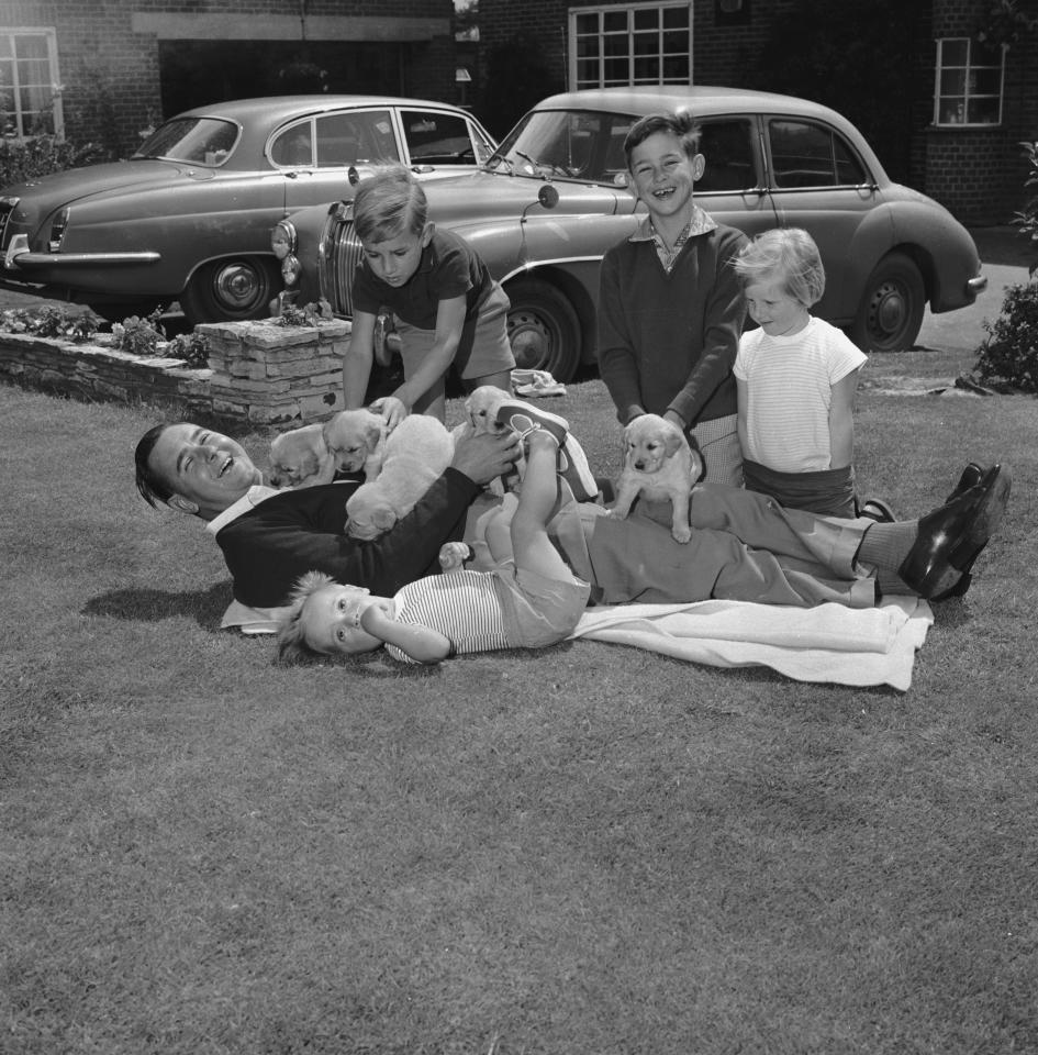 June 1966:  English cricketer Colin Cowdrey (1932 - 2000) is overrun by puppies in the garden of his family home in Surrey.  (Photo by Keystone Features/Getty Images)