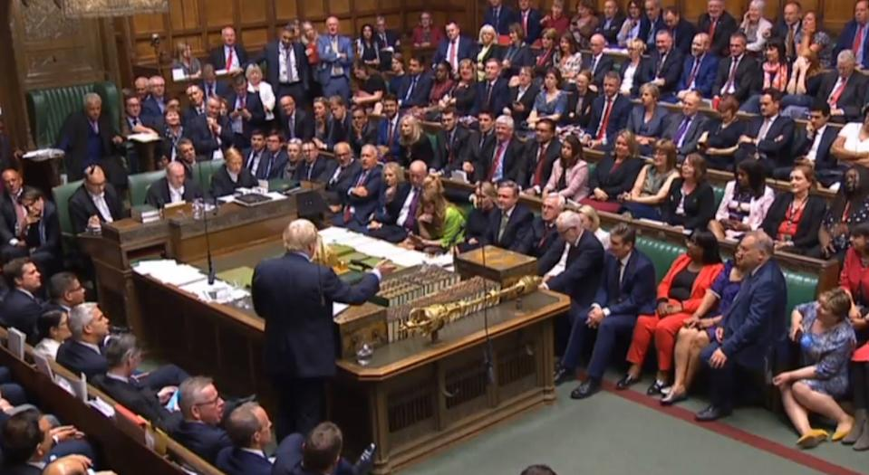 Prime Minister Boris Johnson speaking in the House of Commons, London after MPs voted in favour of allowing a cross-party alliance to take control of the Commons agenda on Wednesday in a bid to block a no-deal Brexit on October 31. (Photo by House of Commons/PA Images via Getty Images)