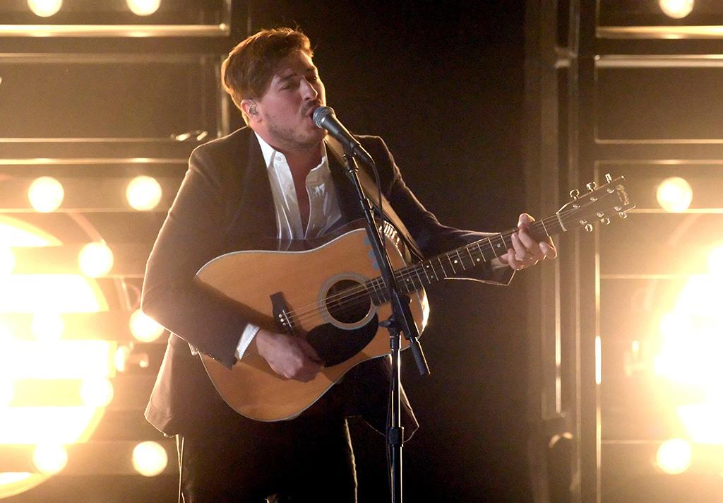 Marcus Mumford of Mumford & Sons performs at the 55th Annual Grammy Awards at the Staples Center in Los Angeles, CA on February 10, 2013.