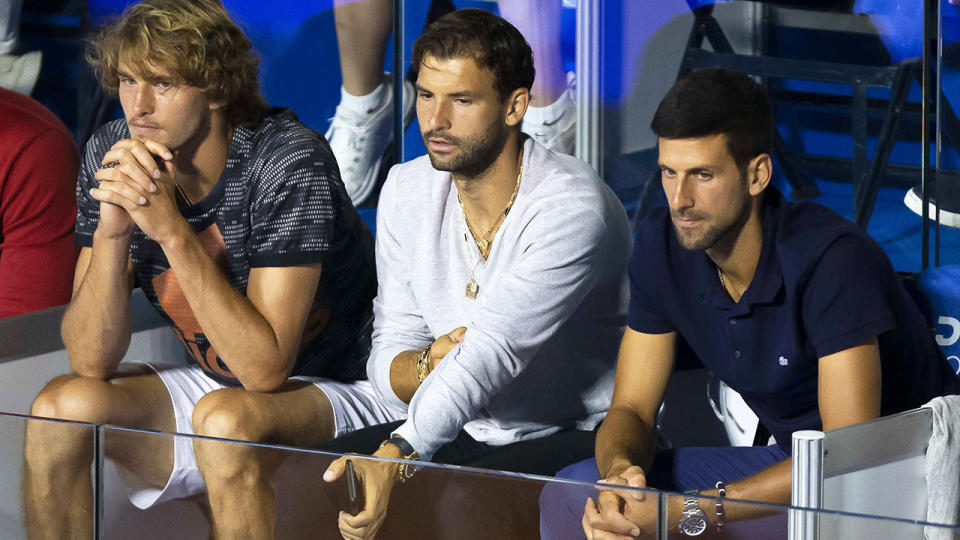 Alexander Zverev, Grigor Dimitrov and Novak Djokovic, pictured here at the Adria Tour.