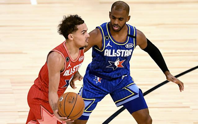 "2020 NBA All-Stars <a class=""link rapid-noclick-resp"" href=""/nba/players/6016/"" data-ylk=""slk:Trae Young"">Trae Young</a> and <a class=""link rapid-noclick-resp"" href=""/nba/players/3930/"" data-ylk=""slk:Chris Paul"">Chris Paul</a> will headline the NBA's HORSE Challenge. (Getty Images)"