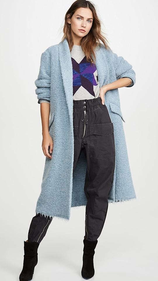 """<p>Make a statement in this <a href=""""https://www.popsugar.com/buy/Isabel-Marant-Etoile-Faby-Coat-544645?p_name=Isabel%20Marant%20Etoile%20Faby%20Coat&retailer=shopbop.com&pid=544645&price=539&evar1=fab%3Aus&evar9=47159811&evar98=https%3A%2F%2Fwww.popsugar.com%2Ffashion%2Fphoto-gallery%2F47159811%2Fimage%2F47159820%2FIsabel-Marant-Etoile-Faby-Coat&list1=shopping%2Ccoats%2Csale%2Cwinter%20fashion%2Csale%20shopping&prop13=mobile&pdata=1"""" rel=""""nofollow"""" data-shoppable-link=""""1"""" target=""""_blank"""" class=""""ga-track"""" data-ga-category=""""Related"""" data-ga-label=""""https://www.shopbop.com/faby-coat-isabel-marant-etoile/vp/v=1/1519053688.htm?folderID=15438&amp;fm=other-shopbysize-viewall&amp;os=false&amp;colorId=102C9&amp;ref=SB_PLP_EP_3"""" data-ga-action=""""In-Line Links"""">Isabel Marant Etoile Faby Coat</a> ($539, originally $770).</p>"""