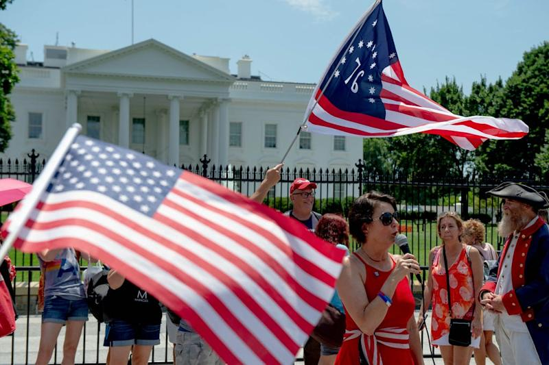 7/3/19 1:31:43 PM -- Washington, DC, U.S.A -- Trump supporters rally in front of the White House on July 3, 2019. Trump supporters and oppositions made speeches for and against Trump in front of the White House at the same time in the afternoon. -- Photo by Yehyun Kim, USA TODAY staff ORG XMIT: YK 138119 July4Prep 7/3/2019 [Via MerlinFTP Drop]