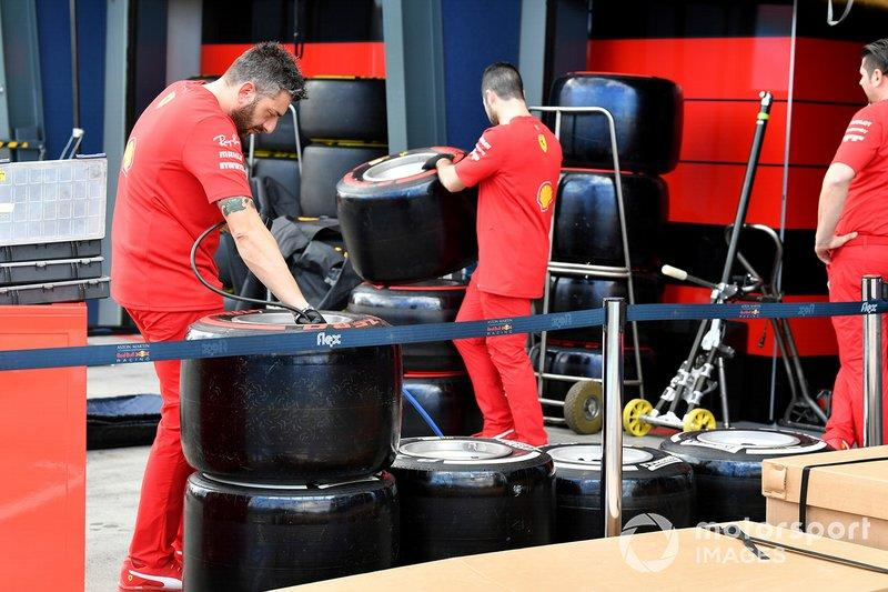 "Ferrari mechanics check tyres<span class=""copyright"">Mark Sutton / Motorsport Images</span>"