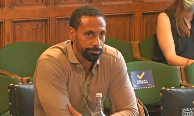 Rio Ferdinand gave evidence to a joint committee of MPs and peers on Thursday