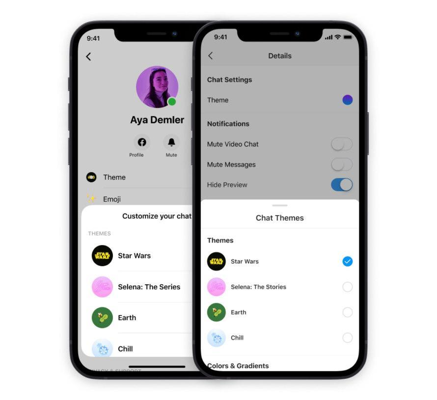 Messenger new themes. Image: Facebook