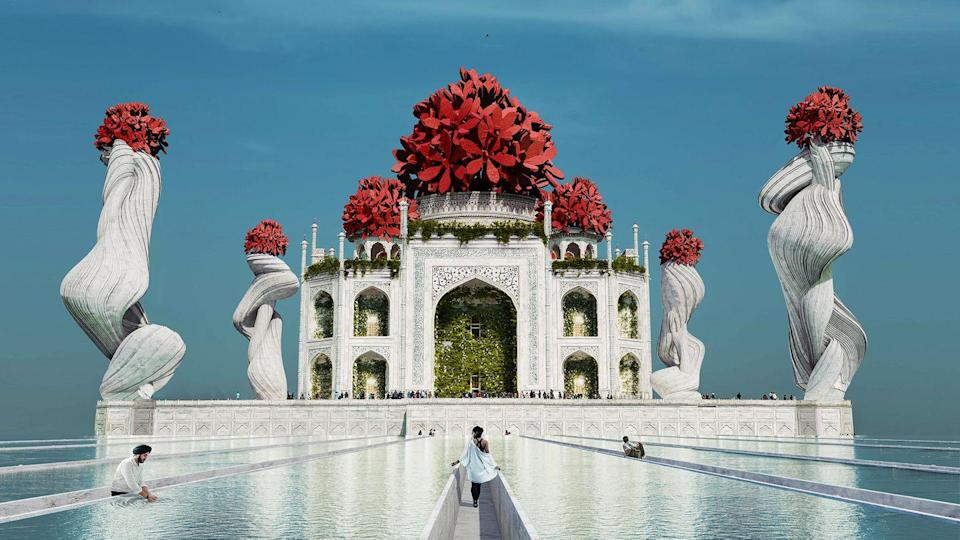 <p>How pretty does the Taj Mahal look in this reimagined image? Draped in hanging plants, Yaniv and her team created an extensive network of water bridges to reflect the importance of water in Indian cultures.</p><p>Speaking about the design process, Yaniv adds: 'We redesigned the iconic pillars in the style of India's famous trail tree trunks, while sitting on top of the pillars are jungle geranium or Ixora Coccinea.' </p>