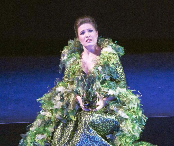 """In this March 2, 2013 photo provided by the Vienna State Opera Marina Rebeka in the role of Donna Anna performs during a dress rehearsal for Wolfgang Amadeus Mozart's opera """"Don Giovanni"""" at the state opera in Vienna, Austria. (AP Photo/Vienna State Opera, Michael Poehn)"""