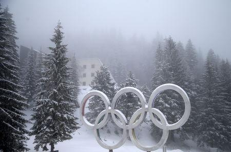 FILE PHOTO: The Olympic rings are seen on the Jahorina mountain near Sarajevo, Bosnia and Herzegovina February 5, 2019. Picture is taken February 5, 2019. REUTERS/Dado Ruvic