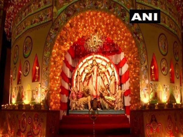 The pandal in Kolkata decorated on the theme of 'Mother's touch'.