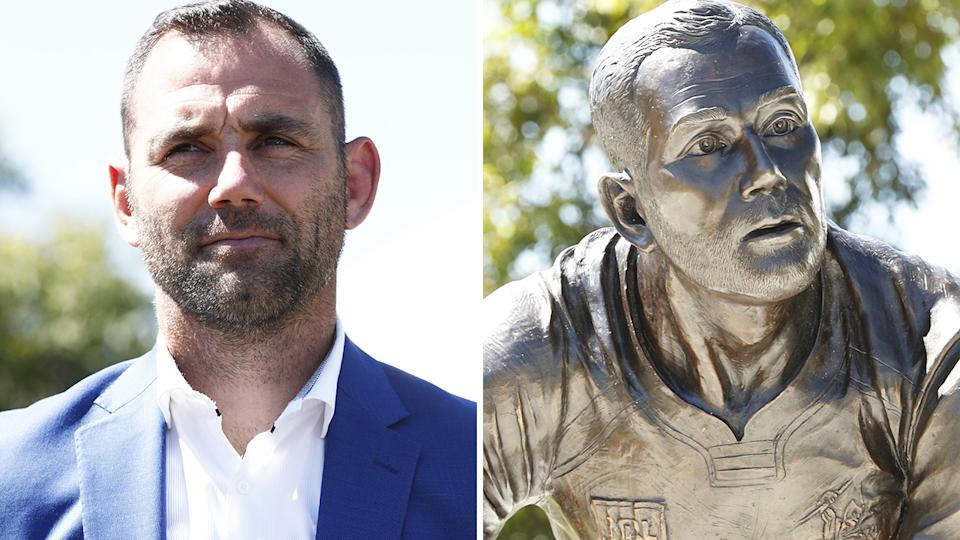 The newly unveiled statue of Melbourne Storm great Cameron Smith has garnered something of a mixed reaction from fans of the rugby league superstar, who announced his retirement on Wednesday. Pictures: Getty Images