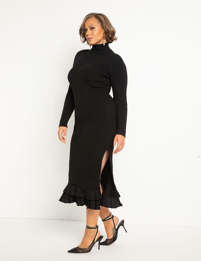 """<h2>Eloquii Turtleneck Sweater Dress With Pleated Ruffles </h2><br><strong>Best Plus-Size Turtleneck Sweater Dress </strong><br><em>Size Range: 14-28</em><br><br>Gone are the days of frumpy turtleneck dresses that have no shape or style. This number from Eloquii has the right amount of subtle flair, like the sexy side slit and the pleated ruffle hem. <br><br><br><em>Shop <strong><a href=""""https://go.skimresources.com/?id=30283X879131&isjs=1&jv=15.2.0-stackpath&sref=https%3A%2F%2Fwww.refinery29.com%2Fen-us%2Fplus-size-sweater-dresses%23slide-1&url=https%3A%2F%2Fwww.eloquii.com%2Fturtleneck-sweater-dress-with-pleated-ruffle-hem%2F1247921.html&xguid=01ERGDHBXNJ489J9KBAH8RZJH0&xs=1&xtz=240&xuuid=13a7fbd9948972339c551d8b8235af4b&xjsf=other_click__contextmenu%20%5B2%5D"""" rel=""""nofollow noopener"""" target=""""_blank"""" data-ylk=""""slk:Eloquii"""" class=""""link rapid-noclick-resp"""">Eloquii</a></strong></em><br><br><strong>Eloquii</strong> Turtleneck Sweater Dress With Pleated Ruffle Hem, $, available at <a href=""""https://go.skimresources.com/?id=30283X879131&url=https%3A%2F%2Fwww.eloquii.com%2Fturtleneck-sweater-dress-with-pleated-ruffle-hem%2F1247921.html"""" rel=""""nofollow noopener"""" target=""""_blank"""" data-ylk=""""slk:Eloquii"""" class=""""link rapid-noclick-resp"""">Eloquii</a>"""