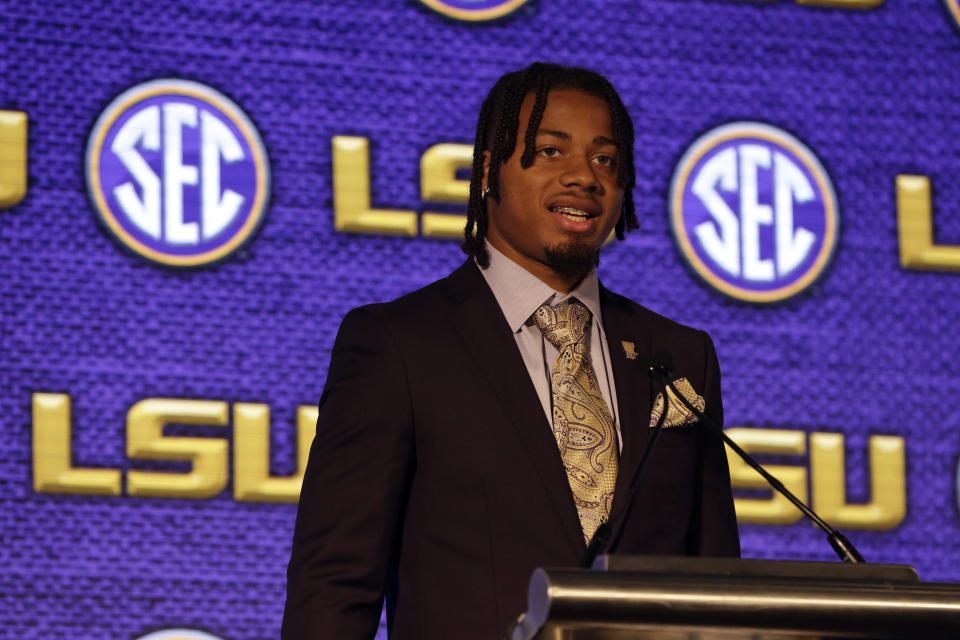 FILE - In this July 19, 2021, file photo, LSU's Derek Stingley Jr. speaks to reporters during the NCAA college football Southeastern Conference Media Days in Hoover, Ala. Stingley was selected to The Associated Press Preseason All-America first team defense, Monday Aug. 23, 2021. (AP Photo/Butch Dill, File)